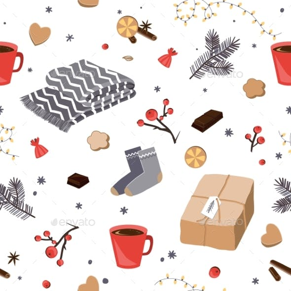 Winter and Christmas Items Seamless Pattern. Hygge