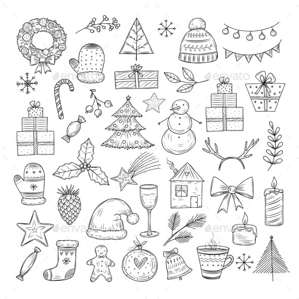 Christmas Doodle Set. Sketch Christmas Wreath, Fir