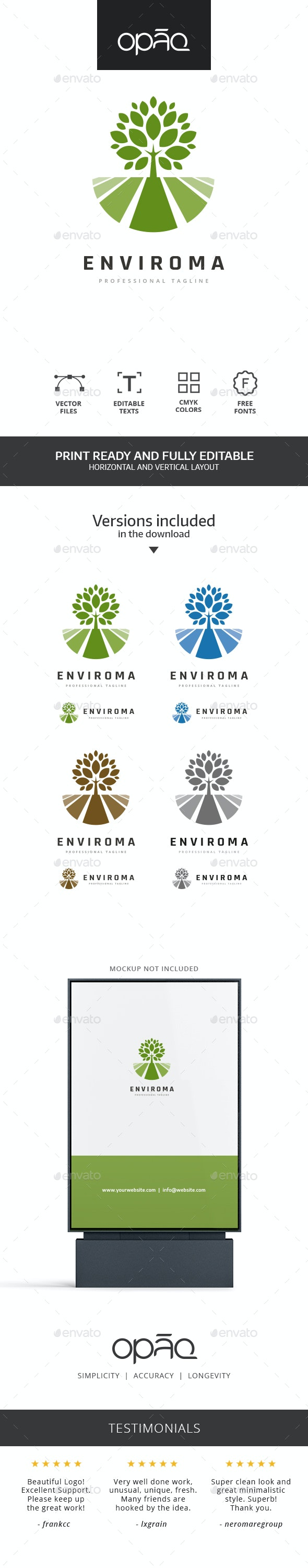 Tree Field Landscape Logo - Nature Logo Templates