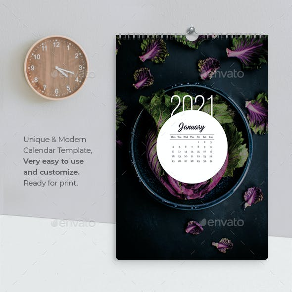 Wall Calendar 2021 Meal