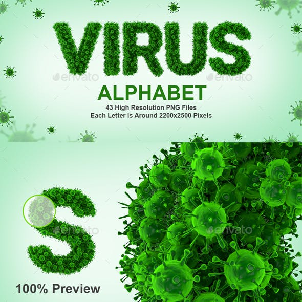 3D Rendered Set of 3D Render Set of Virus or Bacteria Alphabet