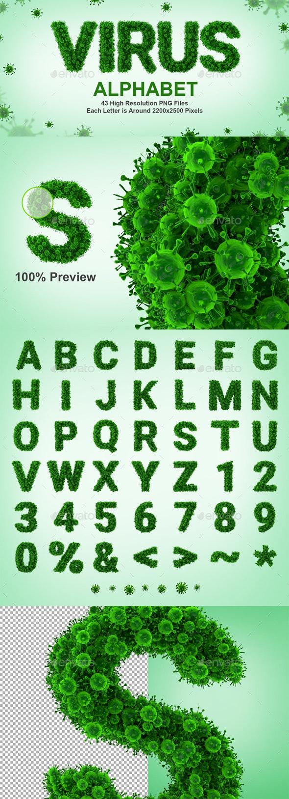 3D Rendered Set of 3D Render Set of Virus or Bacteria Alphabet - Text 3D Renders