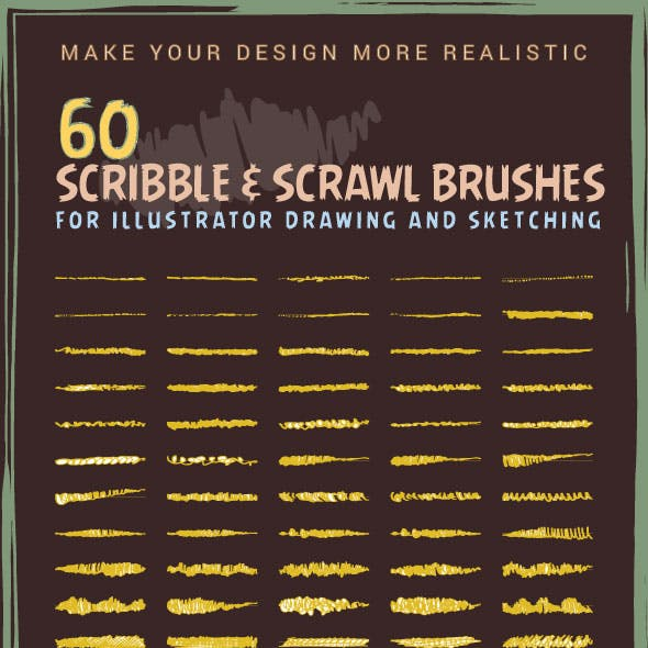 60 Scribble & Scrawl Brushes For Illustrator