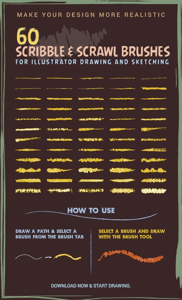 60 Scribble & Scrawl Brushes For Illustrator - Brushes Illustrator