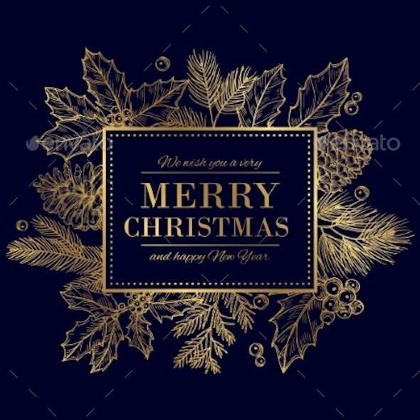 Christmas Card. Merry Christmas Frame. Festive