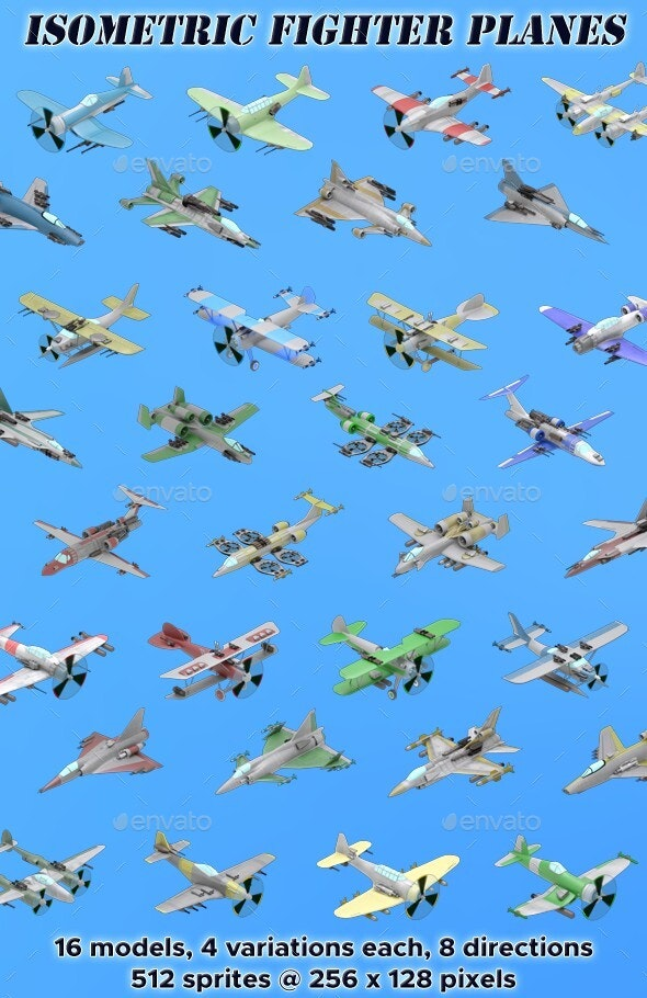 Isometric Fighter Planes - Sprites Game Assets