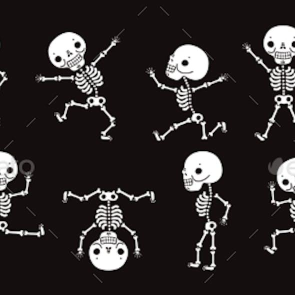 Dancing Skeletons. Cute Halloween Skeleton Dancers