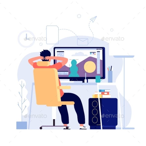 Graphic Designer Concept. Man at Computer Works at