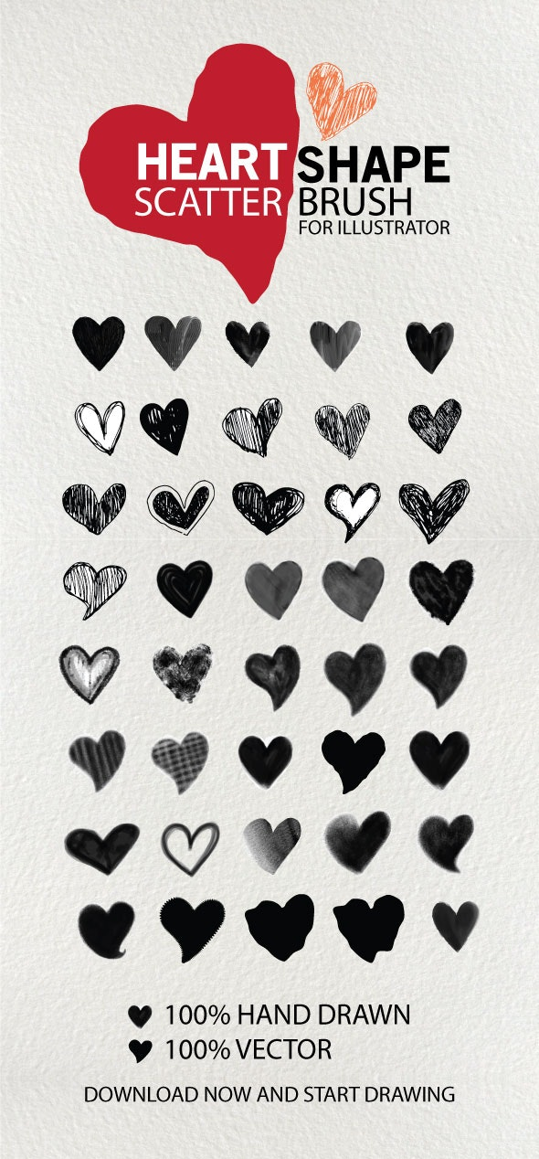 Heart Shape Brushes - Brushes Illustrator