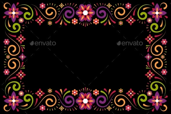 Floral Ornament Decorative Frame on Black - Flowers & Plants Nature