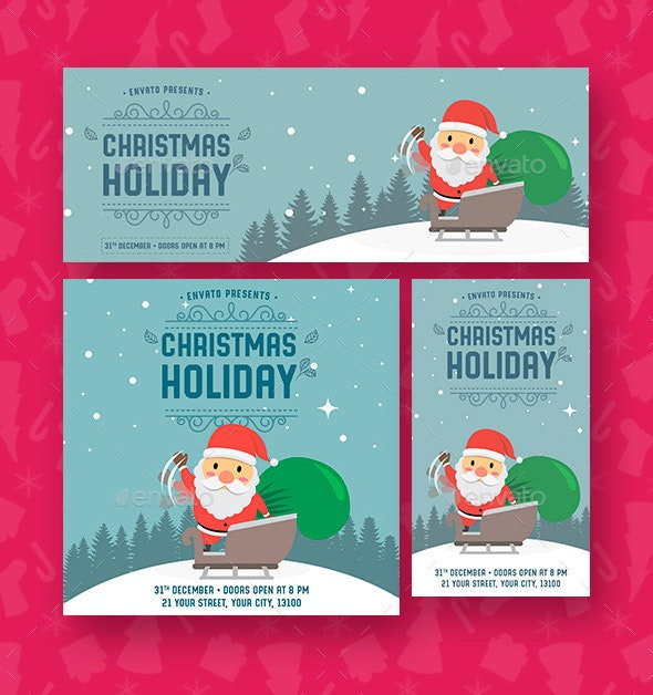 Christmas Holiday Social Media Template - Social Media Web Elements