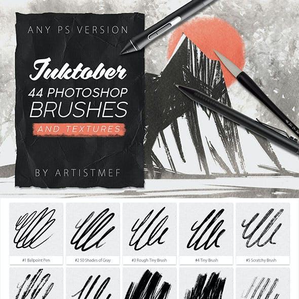 44 Inktober Photoshop Brushes