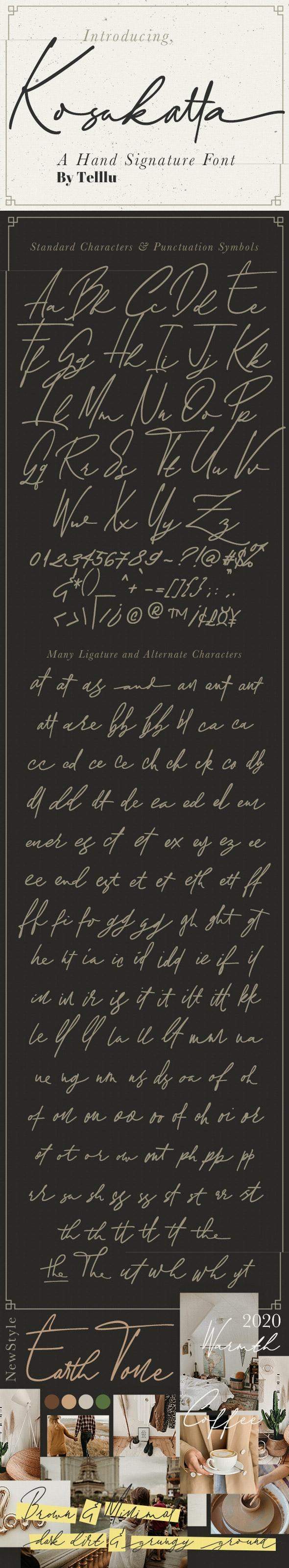 Kosakatta Signature - Handwriting Fonts