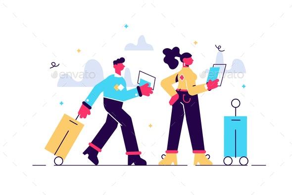 Cartoon Traveling Couple - Travel Conceptual