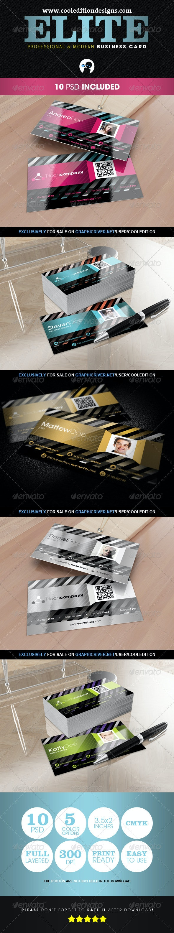 Elite – Professional and Modern Business Card - Creative Business Cards