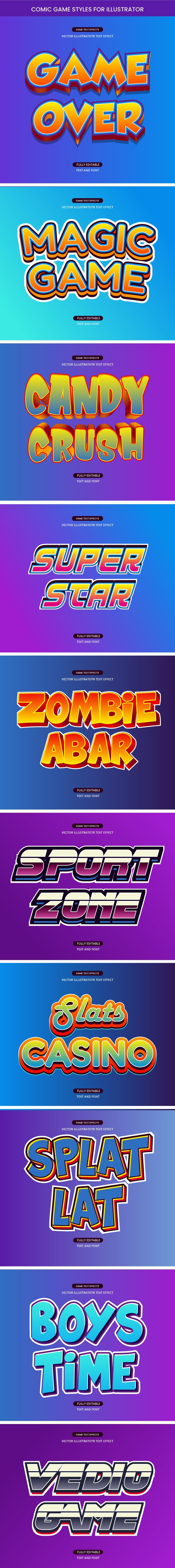 Game and Comic Style Text Effects - Styles Illustrator