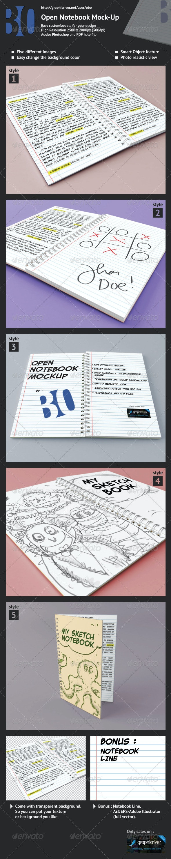Open Notebook Mock-up - Books Print