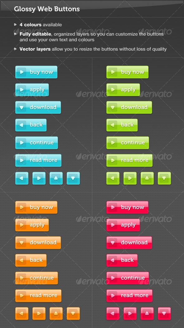 Colourful Glossy Web Buttons