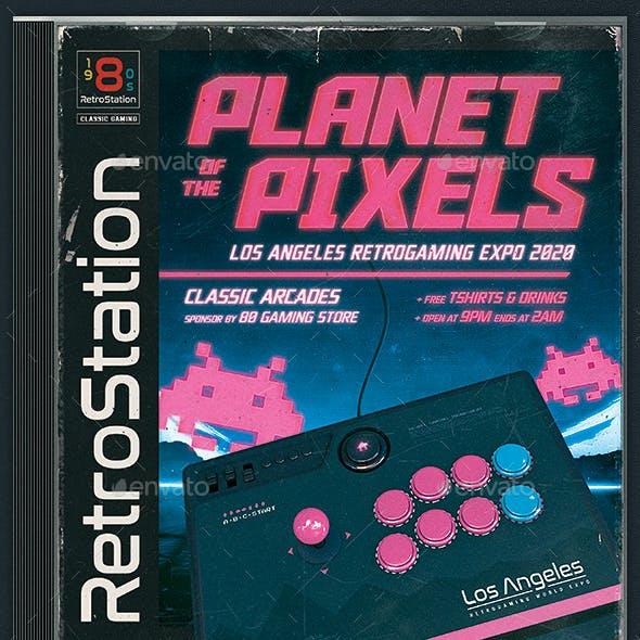 Retro Gaming Flyer 80s Classic Arcade Stick Template