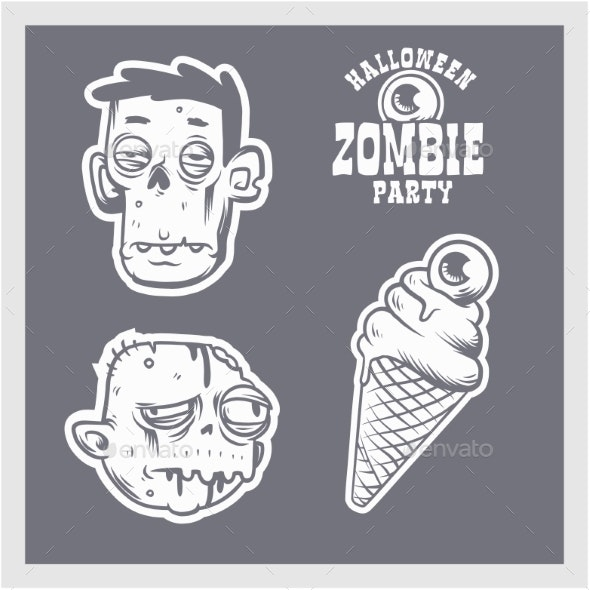 Halloween Party Design Template with Cartoon - Monsters Characters