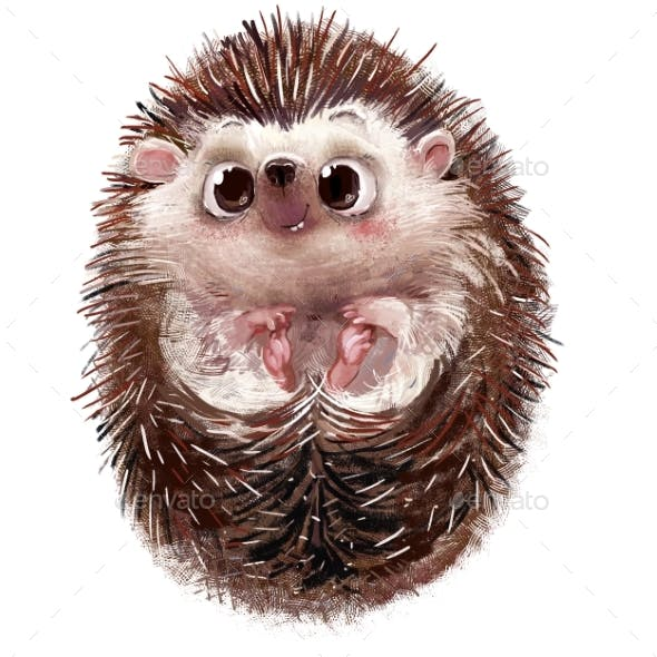 Cute Little Watercolor Cartoon Hedgehog