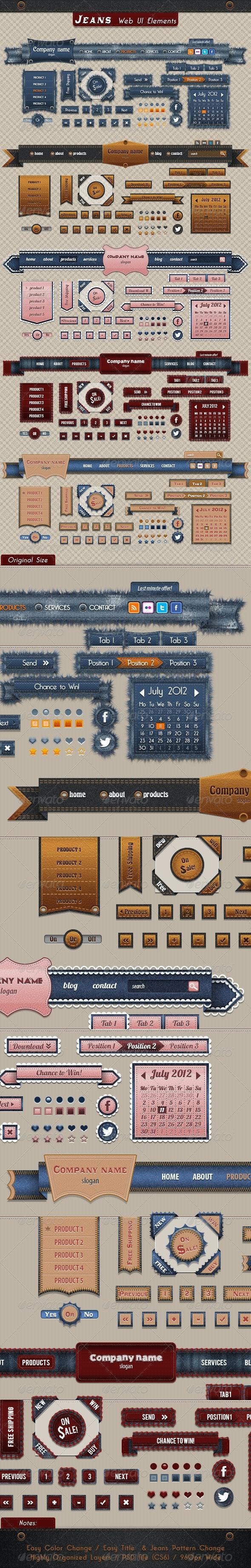 Jeans Web UI Elements - User Interfaces Web Elements