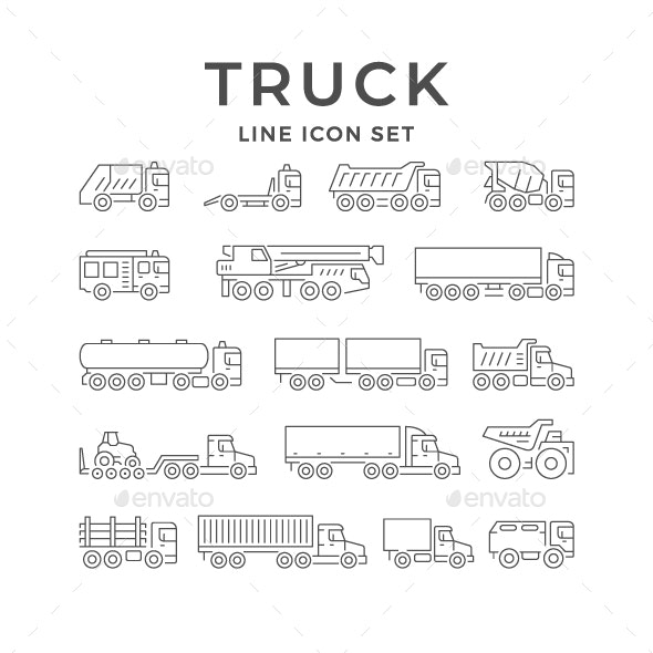 Set Line Icons of Trucks - Man-made objects Objects