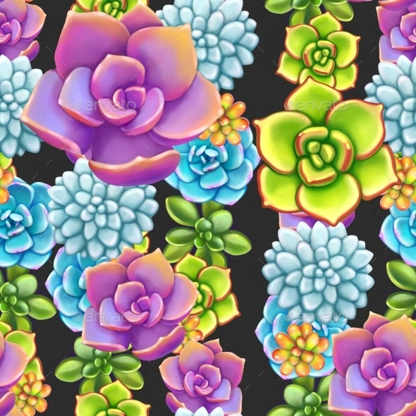 Seamless Pattern with Succulents. Beautiful Floral - Patterns Decorative