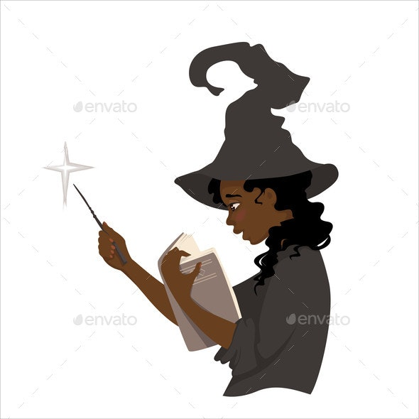 Young Witch Reads Book - People Characters