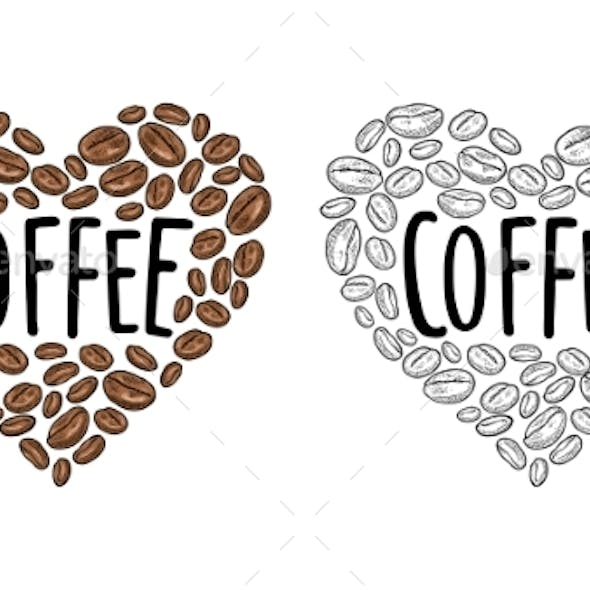 Coffee Beans Composition Heart Shaped