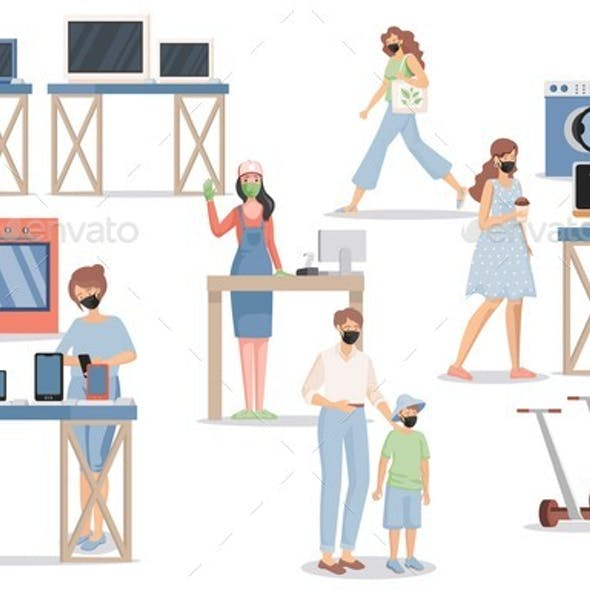 People in Electronics Store Vector Flat