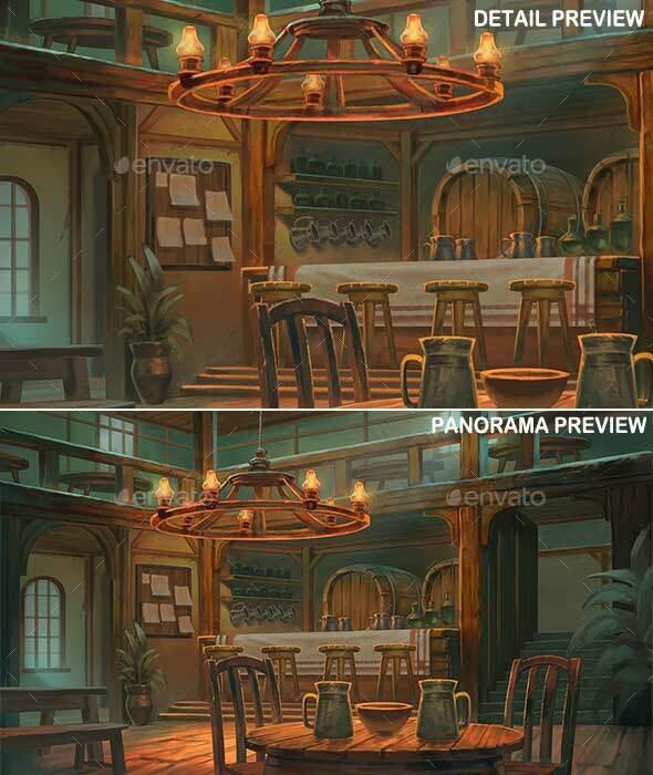 Tavern Interior - Game Background - Scenes Illustrations