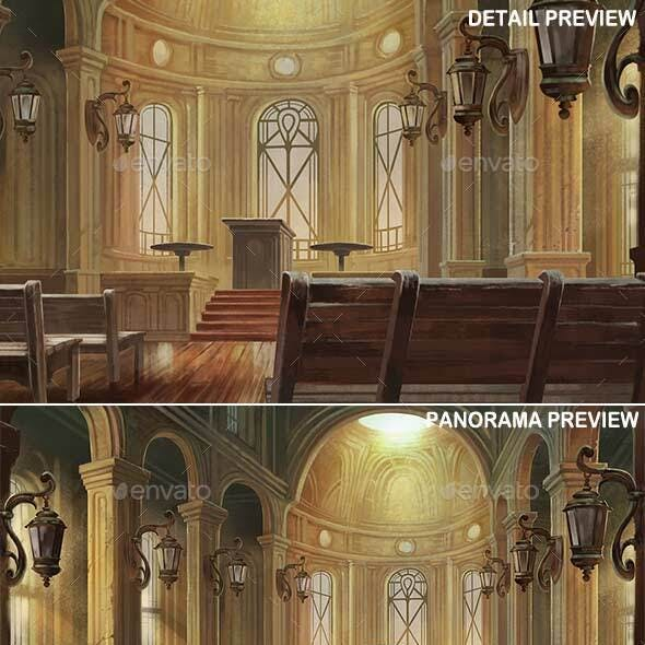 Temple Interior - Game Background