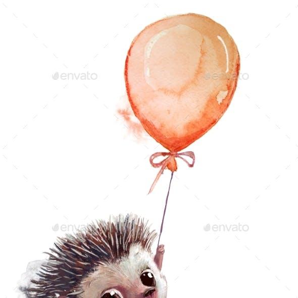 Cute Heggehog Fly with Balloon