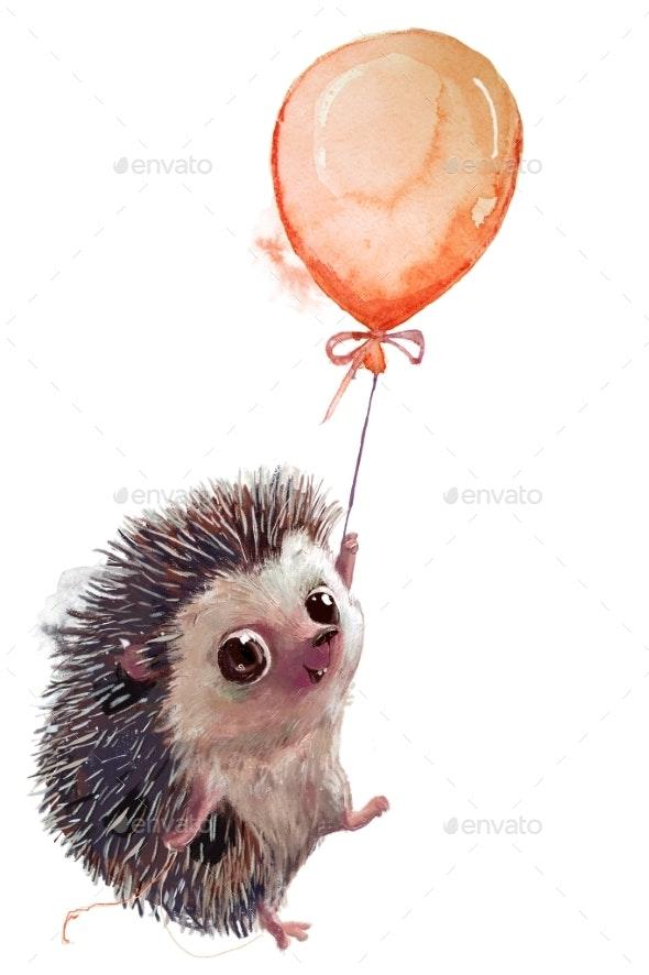 Cute Heggehog Fly with Balloon - Animals Illustrations