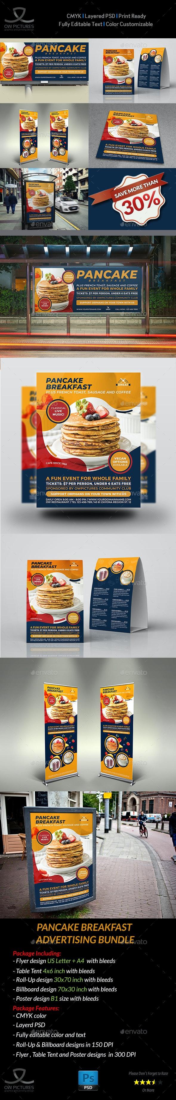 Pancake Breakfast Advertising Bundle - Signage Print Templates