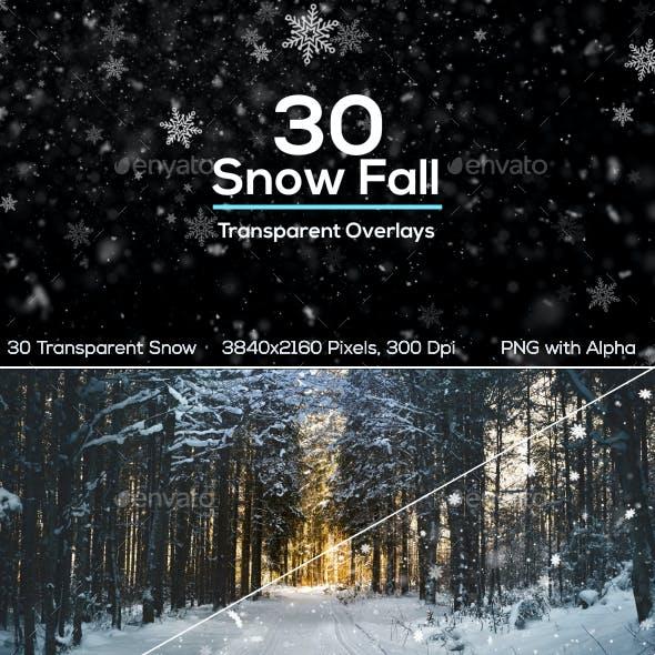 30 Snow Fall Overlays