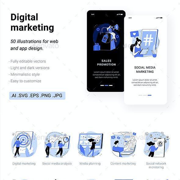 50 Digital Marketing UI Vector Illustrations