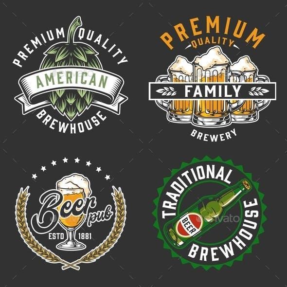 Brewery vintage logos set