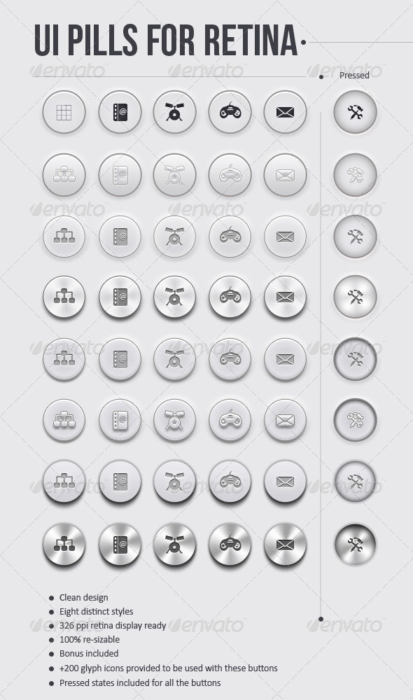 Ui Pills For Retina - Clear Round Button Set  - Buttons Web Elements