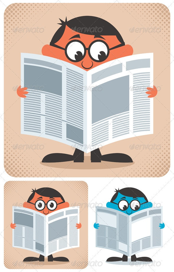 Reading Newspaper - Characters Vectors