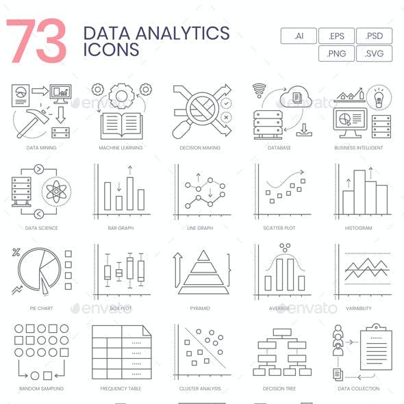 73 Data Analytics Line Icons