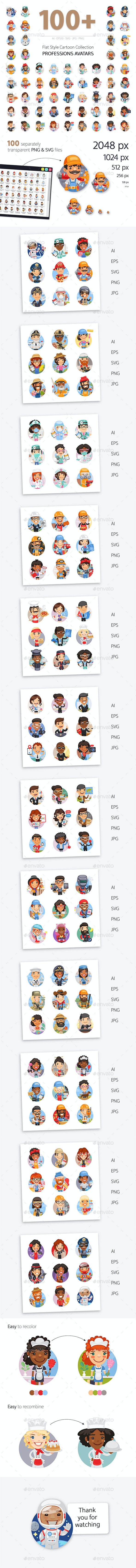 100+ Professions Avatars - People Characters