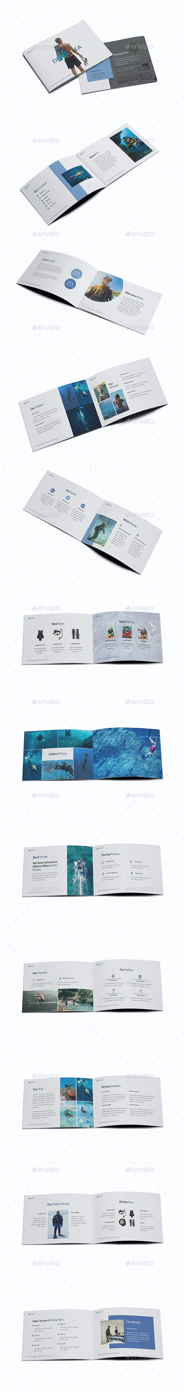 Diving School A5 Brochure Template - Brochures Print