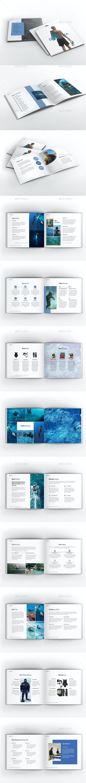 Diving School Square Brochure Template - Brochures Print Templates