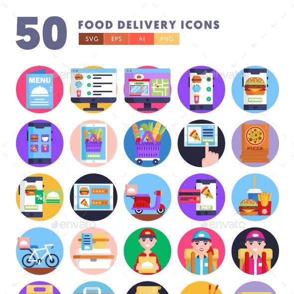 50 Food Delivery Icons