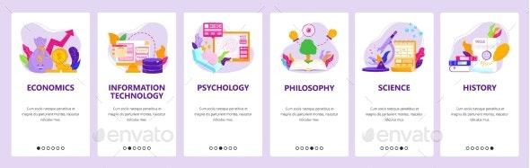 Study Economics, IT, Psychology, Philosophy - Web Elements Vectors