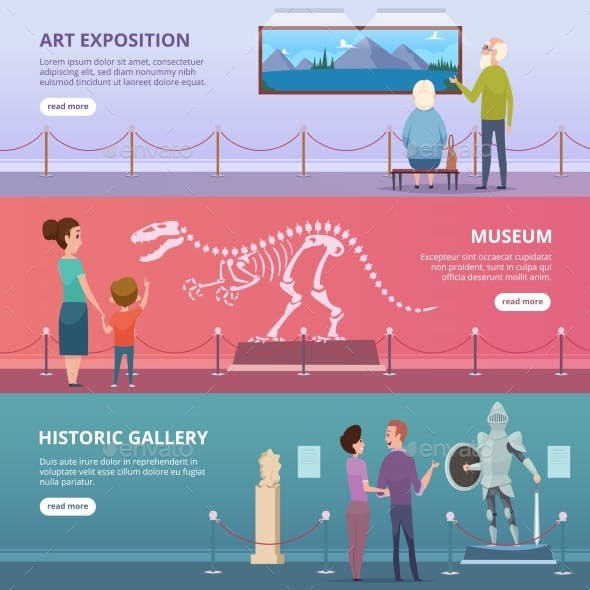 Art Gallery. People Walking in Museum Looking on