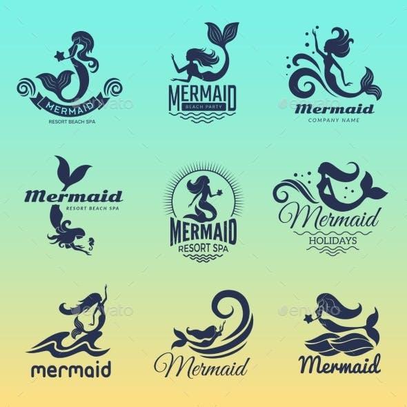 Mermaid Logo. Marine Swim Fairytale Women Ocean