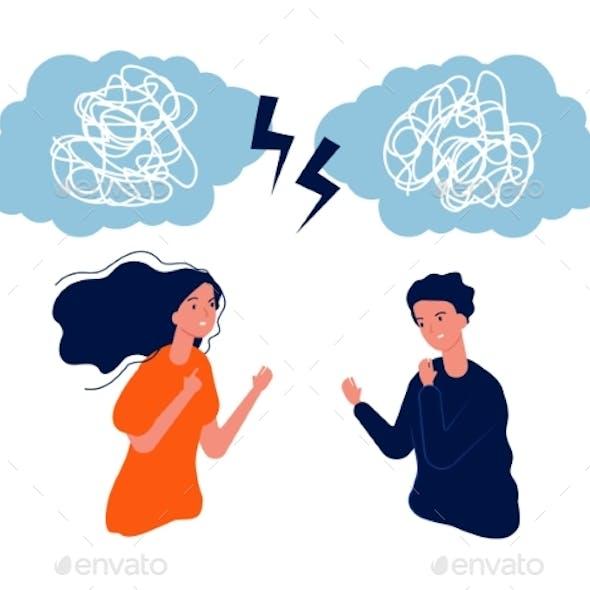 People Fight. Man Woman Mental Problem